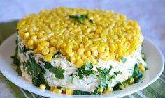 Салат с грибами, яйцами и кукурузой