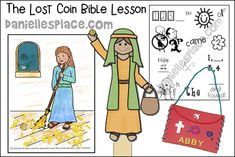 Parable of the Lost Coin Bible Crafts Printable Bible Verses, Printable Crafts, Learning Activities, Activities For Kids, Coin Crafts, How To Make Purses, Verses For Cards, Bible Lessons For Kids, The Son Of Man