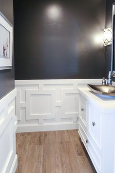 Sherwin Williams Peppercorn: Color Spotlight Wainscoting Height, Wainscoting Nursery, Painted Wainscoting, Dining Room Wainscoting, Wainscoting Styles, Black Wainscoting, Wainscoting Panels, Basement Wainscoting, Bathroom Wainscotting