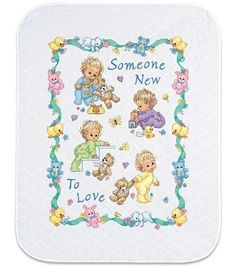 Celebrate your babys arrival with the adorable Dimensions Baby Hugs Someone New Quilt Stamped Cross Stitch Kit. This cross stitch kit features a stitched cotton embroidery design on a pre-finished qui Baby Cross Stitch Patterns, Cross Stitch Baby, Counted Cross Stitch Kits, Cross Stitch Designs, Cross Stitching, Cross Stitch Embroidery, Embroidery Thread, Embroidery Patterns, Baby Hug