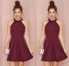 Cheap Short Bridesmaid Dresses Homecoming Dresses burgundy Halter Short Prom Dresses for Junior Bridesmaid Dress 2016 Plus Size Dress J107