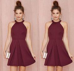 Cheap Short Bridesmaid Dresses Homecoming Dresses burgundy Halter Short Prom Dresses for Junior Bridesmaid Dress 2016 Plus Size Dress J107