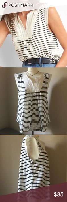 NWOT Gap Striped Eyelet Tank 🆕 Ivory with dark navy stripes and eyelet trim at neck and sleeves. Super cute and completely new! GAP Tops Blouses