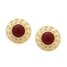 Red Agate Rround Stud Earrings