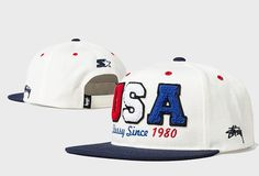 Men's Stussy x Starter Team Stussy Crafted USA Stussy Since 1980 Baseball Snapback Hat - White / Navy