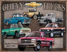 "Chevy Trucks Tribute Tin Sign 16""Wx12.5""H"