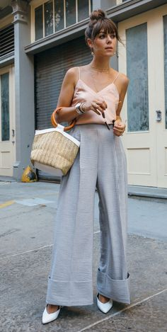 Wide legged pant + peach satin top
