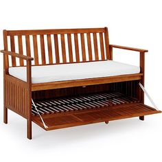 #Wooden patio bench with #storage space box #outdoor garden seat chair furniture , View more on the LINK: http://www.zeppy.io/product/gb/2/291737537965/