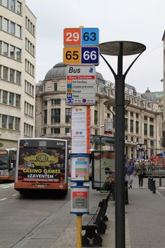STIB bus wayfinding outside Gare-Centrale