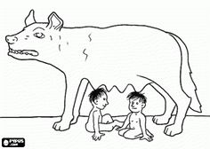 Romulus and Remus, the founders of Rome, suckled by a she-wolf coloring page, and others Remo, Ancient Rome, Ancient History, Romulus And Remus, Roman Fashion, Back In Time, Roman Empire, Geography, Mythology