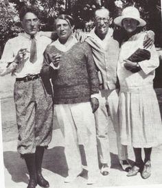 Jean Cocteau, Picasso, Igor Stravinsky et Olga Koklova, Antibes, : Anónimo de Piedra Pablo Picasso, Picasso Art, Harlem Renaissance, Cubist Movement, Jean Cocteau, Russian Ballet, Antibes, Roaring Twenties, Artist Life