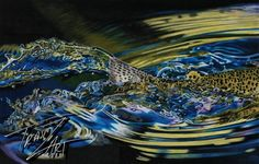 """Adenaline"" Colored pencil drawing of a Rainbow Trout by Travis J.Sylvester.  Reference photo courtesy of ""Joey Guzman"""