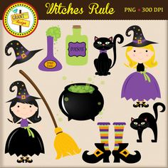 Halloween Clipart- Halloween Witch Clipart - Cute Digital Clipart - Personal Use - Commercial Use - Card Design Scrapbooking Web Design