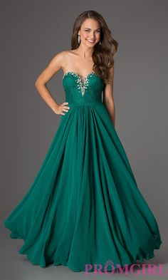 Floor Length Strapless Sweetheart Dress GREEN