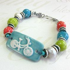 Ceramic Bicycle Bracelet with Rustic Fresh Waterwater Pearls
