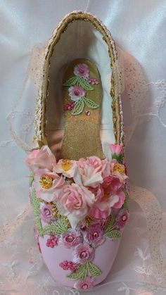 Shabby chic pink and gold decorated pointe shoe. Sleeping Beauty Rose Adagio. Coppelia. Waltz of the Flowers. Recital Gift. Ready to Ship.