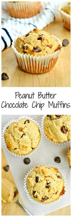 Peanut Butter Chocolate Chip Muffins aren't just good for breakfast, but for any time of the day! Rich creamy peanut butter makes these muffins moist and super addicting!