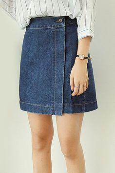 Stylish High Waist Solid Color Buttoned Women's Denim Skirt
