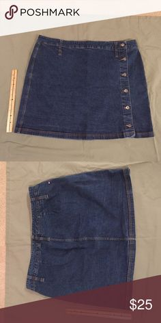 Tommy Hilfiger Jean Skirt - Plus Size TH button-up jean skirt in excellent condition. Size 24. Tommy Hilfiger Skirts