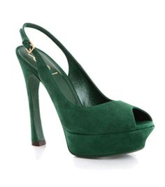Shamrock Palais Sling Backs by Yves Saint Laurent. Green suede round peep toe platform heels with adjustable sling back with small buckle. #Matchesfashion