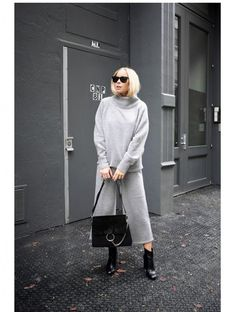 victoria tornegren blogger culottes grey sweater grey pants minimalist