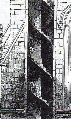 Double helix spiral staircase - St. Editha, in Staffordshire, one person can ascend and another descend without seeing the other.