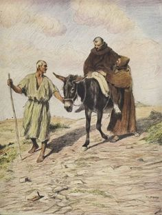 St Francis descending Mount La Verna with Friar Leo after the imprinting of the holy stigmas