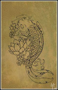 koi tattoos | 100 desenhos de Carpas » Koi_Carp_Tattoo_by_Dragodelbuio