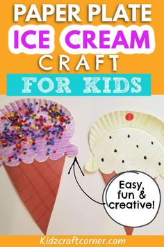 The perfect summer craft idea for kids. If you have extra paper plates lying around your house this is the perfect craft to do on a warm day outside. Each child will love creating and decorating their own ice cream cones. Paper Plate Crafts For Kids, Easy Arts And Crafts, Summer Crafts For Kids, Summer Activities For Kids, Diy For Kids, Toddler Art Projects, Toddler Crafts, Preschool Crafts, Projects For Kids