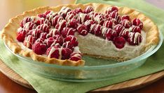 White Chocolate Raspberry Dazzle Pillsbury® pie crust provides a simple addition to this delicious chocolate and raspberry pie - a wonderful dessert.