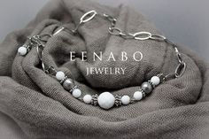 White and Silver Faceted Agate Chain 2 in 1 Necklace and by EENABO, $89.00