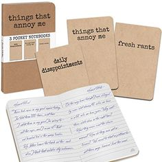 Grump Notebooks, Things That Annoy Me book set of 3 Funny Gag Gift NEW Archie McPhee - Accoutrements http://www.amazon.com/dp/B00YHYMNT6/ref=cm_sw_r_pi_dp_rF4zwb1CXX5B6