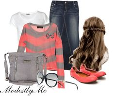 """""""Coral Grey"""" by modestlyme on Polyvore"""