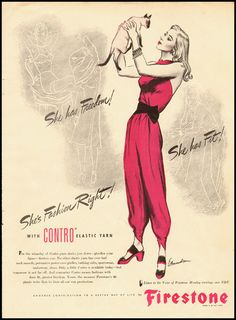 She's fashion right! vintage 1940s jumpsuits ad