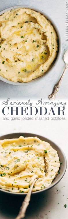 Seriously Amazing Cheddar Mashed Potatoes - a quick and easy recipe that's perfect for weeknights and even better for holidays! #cheddarmashedpotatoes #mashedpotatoes #thanksgiving | http://Littlespicejar.com