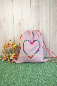 Valentine's bag with a rainbow heart. Sometimes things can speak instead of you.