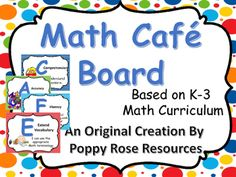 Modeled after the Literacy CAFE Board, this Math Cafe Board gives you all the Math Writing strategies in I CAn Statement format. Just print, laminate for durability and display on your Math focus wall for student reference.  Guided Math will go smoothly when you have this board as an anchoring tool for all the strategies for :understanding the Problem responding to representations,supporting thinking, and extending math vocabulary.If you would like this product in a different color scheme…