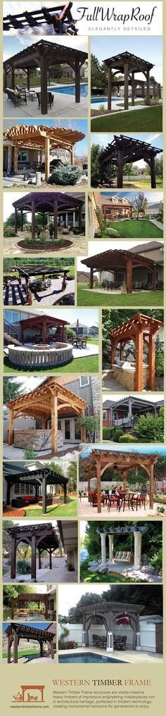 20 pergolas and gazebos featuring a full wrap around roof.