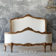 Eloquence Vintage French Louis XV Hand Carved Full Bed From Eloquence, a stunning vintage full size bed finished in a subtle warm gilt and upholstered in a crisp white duct canvas. French Furniture, Classic Furniture, Bed Furniture, Home Bedroom, Bedroom Decor, Cottage Bedrooms, French Country Bedding, French Decor, French Chic