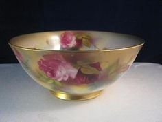 Lovely  Antique Royal Worcester Fruit Bowl  Hand Painted With Hadley Roses 1916