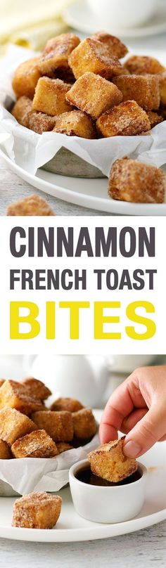 """French Toast Bites - fun to make, you kind of """"sauté"""" them! And fun to eat - they taste like cinnamon doughnuts!"""