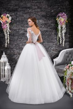 Vida is a princes style wedding dress with sweetheart neckline and long sleeves with lace detail flowing into the soft tulle skirt. Formal Dresses, Wedding Dresses, Lace Detail, Tulle, Romantic, Long Sleeve, Skirts, Collection, Fashion