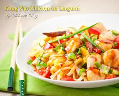 Kung Pao Chicken on Linguini