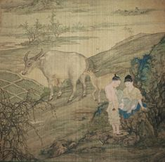Erotic album leaf possibly attributed to northern figure master Leng Mei (ca. 1670-1742 or later) A herdboy is about to take the virginity (we assume) of a young girl, who may have come out onto the hillside to fly the kite that lies on the ground at left.It has a tinge of the near-perverse, which is somehow intensified here by the way the cow and nuzzling calf, behind, roll their eyes back to watch.