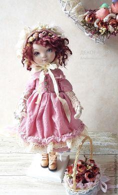Купить Николь.Текстильная коллекционная кукла. Бохо стиль - бежево-коричневый, кукла