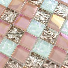 Crystal glass tile sheets square iridescent mosaic metal electroplated pattern kitchen backsplash tiles mirror bathroom designs(China (Mainland))