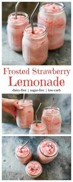 Food Rings Ideas & Inspirations 2017 - DISCOVER Frosted Strawberry Lemonade - Dairy-free, sugar-free, low-carb, THM, Trim Healthy Mama - FP Discovred by : Smoothie Drinks, Healthy Smoothies, Healthy Drinks, Healthy Lemonade, Frozen Strawberry Lemonade, Frozen Strawberries, Healthy Snacks, Healthy Recipes, Healthy Breakfasts