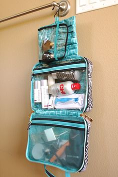 Organized travel tip: Keep a toiletries bag like this packed in your suitcase at all times. Then, when packing for the trip, just check how full the bottles are instead of putting the bag together over and over.