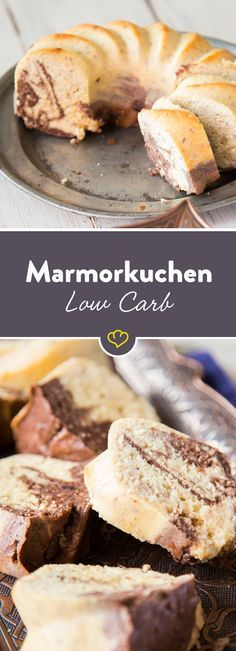 Low-carb marble cake, which grandma . - Fancy marble cake – but low carb? The combination of ground almonds, xylitol and quark tastes so - Low Carb Sweets, Low Carb Desserts, Low Carb Recipes, Baking Recipes, Dessert Recipes, Cake Recipes, Healthy Recipes, Marble Cake, Law Carb