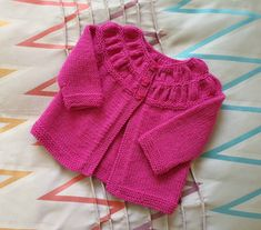 Warm woollen baby girl cardigan, soft merino wool sweater, handmade cardigan with ruched yoke, 3 to 6 months baby knitwear, pink & pretty Knitted Baby Cardigan, Merino Wool Sweater, Pink Sweater, Baby Girl Cardigans, Baby Sweaters, Wool Sweaters, Baby Month By Month, Baby Knitting, Knitwear